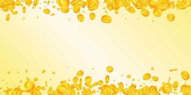 Monety dolara amerykańskiego spadają. fascynujące rozproszone monety usd. pieniądze z usa. godny jackpot, bogactwo lub koncepcja sukcesu. ilustracja wektorowa.