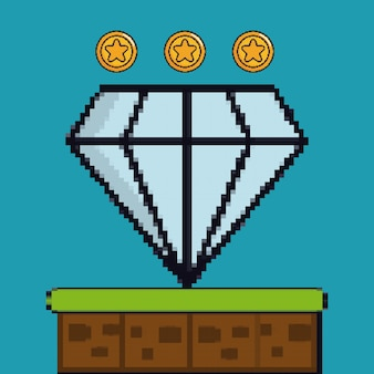 Monety i diamentowa gra pikselowa postać