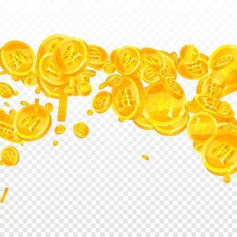 Monety koreańskie spadają. eleganckie rozproszone won monety. pieniądze z korei. wspaniała koncepcja jackpota, bogactwa lub sukcesu. ilustracja wektorowa.