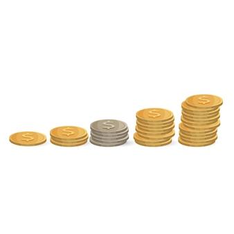 Monety rosnąco na białym tle. srebrne i złote pieniądze w stosie. ilustracja inwestycji, rosnących zysków i dobrobytu osiągnięć. pojęcie ekonomiczne