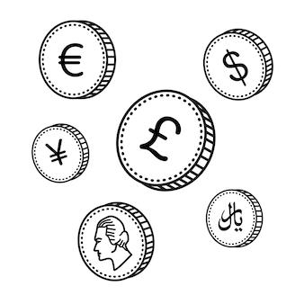 Monety rysowane ręcznie linii wektorowych