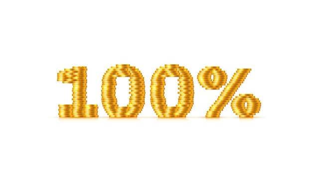Monety stos 100 wyprzedaż tekst znak. ilustracja wektorowa