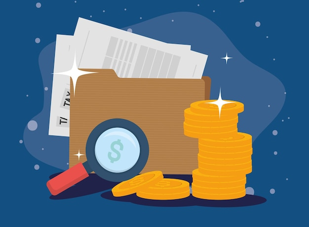 Monety z dokumentów podatkowych i lupe