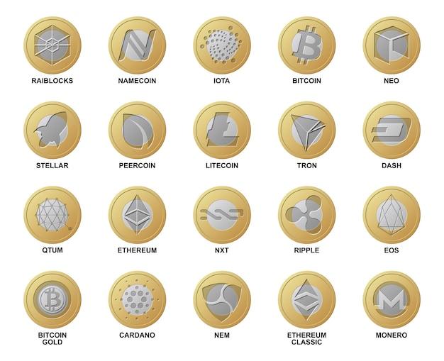 Monety z logo waluty cripto. różne złote i srebrne monety zbiór kryptowalut blockchain do kupowania i handlu w sieci. zestaw cyfrowych pieniędzy na aplikacje, strony internetowe. realistyczny
