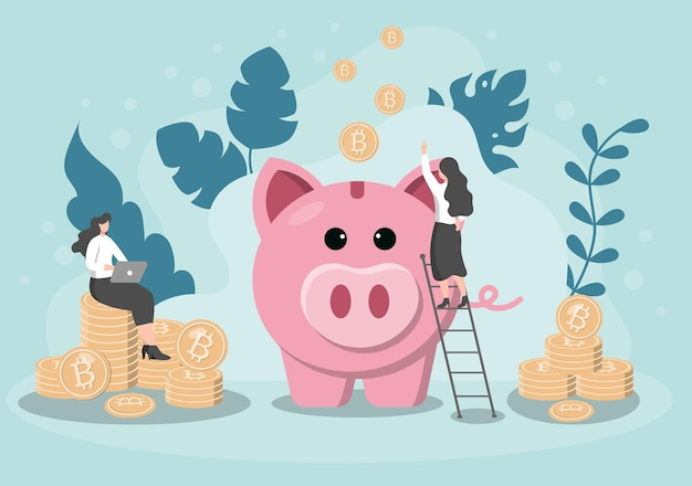 Money box pig information exchange technology illustration