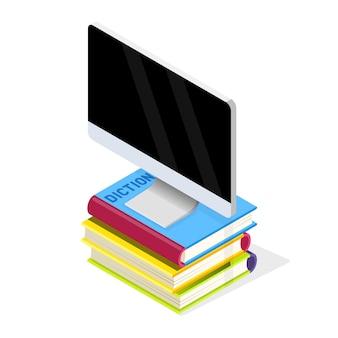 Monitor komputera jest na stosie książek. biblioteka książek multimedialnych, czytanie e-booków, wirtualna edukacja online, baza danych, koncepcja e-learningu. izometryczna ilustracja na białym tle.