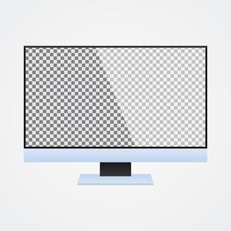 Monitor komputera mock up z przezroczystym ekranem na białym tle
