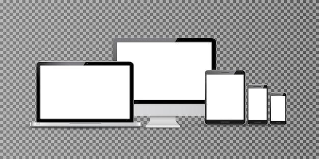 Monitor komputera, smartfon, laptop i tablet pc na białym tle projekt. zestaw inteligentnych urządzeń cyfrowych telefonu komórkowego.