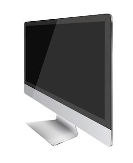 Monitor komputera z czarnym ekranem na białym tle