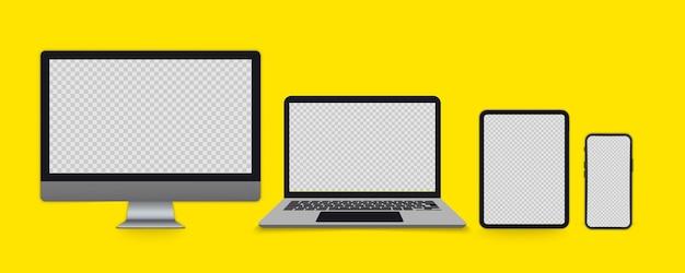 Monitor komputerowy, laptop, tablet, smartfon. zestaw urządzeń z pustymi ekranami. gadżety elektroniczne