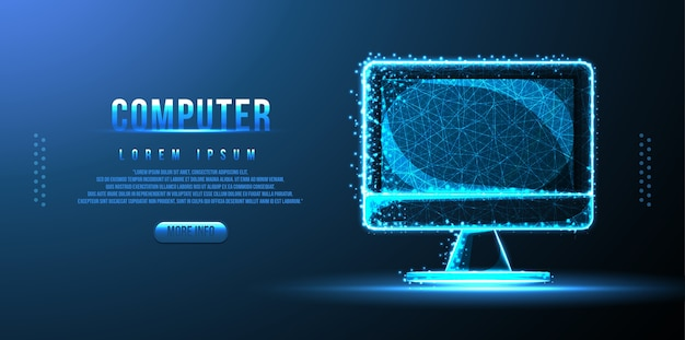 Monitor komputerowy low poly wireframe