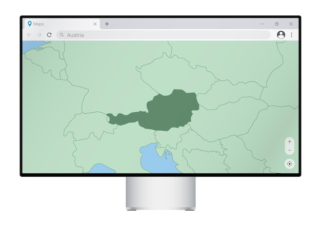 Monitor komputerowy z mapą austrii w przeglądarce, wyszukaj kraj austrii w programie do map internetowych.