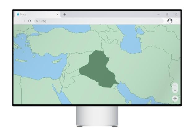 Monitor komputerowy z mapą iraku w przeglądarce, wyszukaj kraj iraku w programie do map internetowych.
