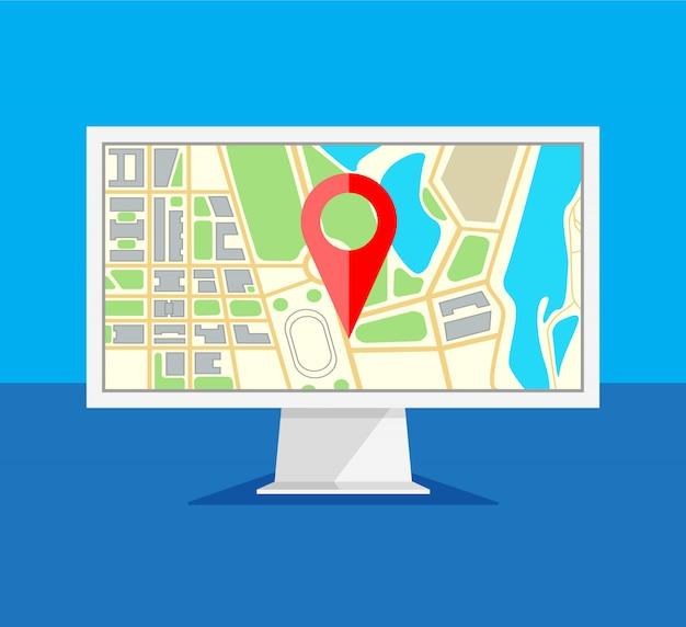 Monitor komputerowy z nawigacją po mapie na ekranie. nawigator gps z czerwoną końcówką. ekran komputera na białym tle na niebieskim tle. ilustracja w modnym stylu płaski.