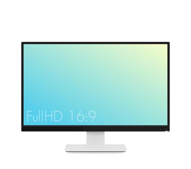 Monitor makieta, nowoczesny realistyczny wyświetlacz komputera z szerokim ekranem i cienkimi ramkami, ilustracja