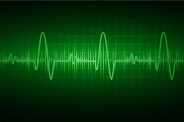 Monitor pulsu green heart z sygnałem. bicie serca. ikona. ekg