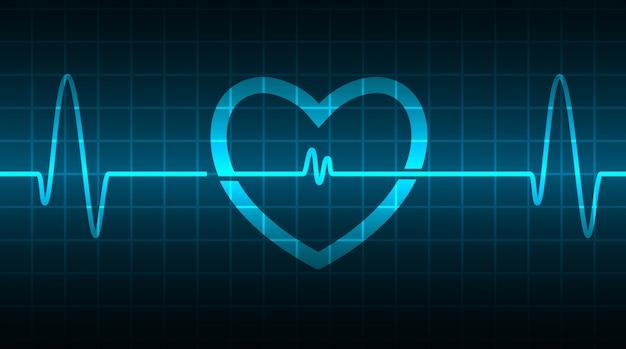 Monitor tętna blue heart z sygnałem. bicie serca. fala ikony ekg