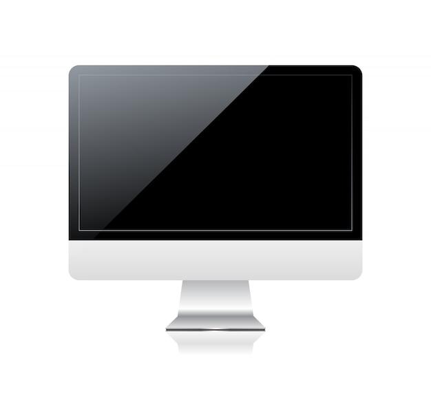 Monitor z czarnym ekranem.