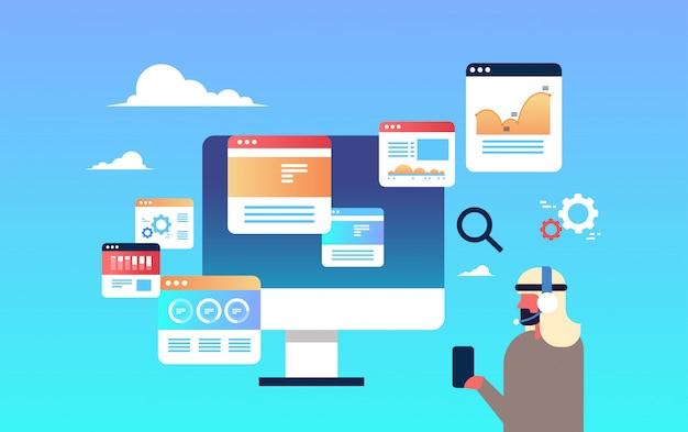 Monitorowanie ilustracji z biznesmenem