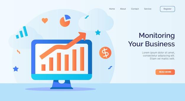 Monitorowanie kampanii ikony wykresu wzrostu ekranu komputera biznesowego dla szablonu strony głównej witryny internetowej w stylu kreskówki.
