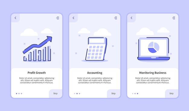 Monitorowanie wzrostu zysków firmy dla aplikacji mobilnych szablon strony banera ui