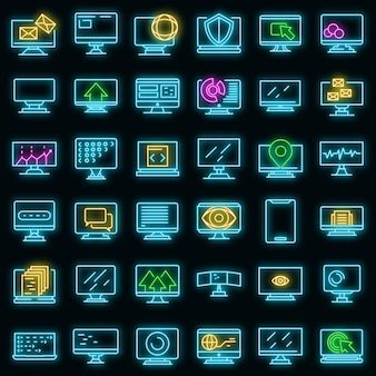 Monitoruj ikony ustaw wektor neon
