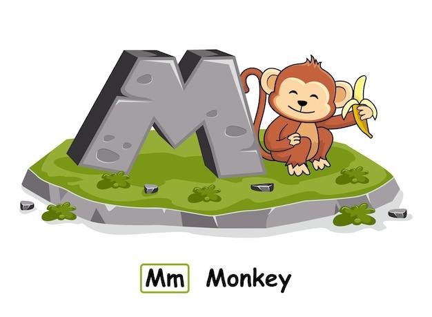 Monkey animals alphabet rock stone m