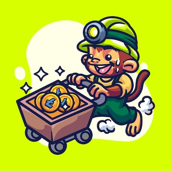 Monkey crypto miner character illustration