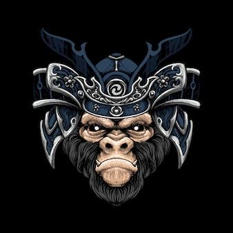 Monkey samurai hat illustraion