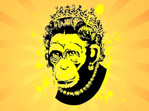 Monkey w tle złota korona
