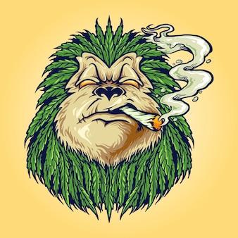 Monkey weed dym liść marihuany maskotka ilustracje wektorowe do pracy logo, t-shirt towarów, naklejki i projekty etykiet, plakat, kartki okolicznościowe reklama firmy lub marki.
