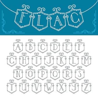 Mono-line ozdobna czcionka. alfabet łaciński flagi na białym tle trznadel z literami konspektu.