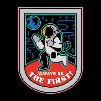 Monochromatyczna ikona łaty naklejka przypina pierwsze lądowanie człowieka na planecie mars z wolnego miejsca na ziemi. kosmiczna kolonizacja odkrywa misję.