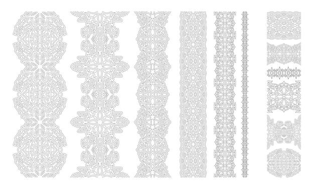 Monochromatyczna ilustracja do kolorowania ze szczegółowymi rocznika pędzle na białym tle