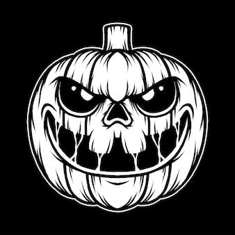 Monochromatyczna ilustracja dyni halloween. wektor premium