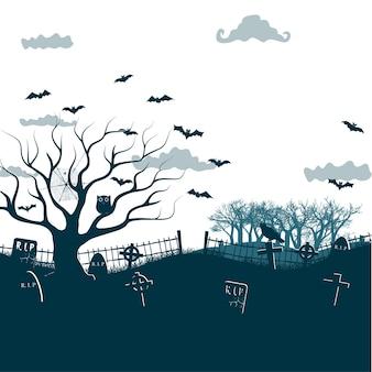 Monochromatyczna ilustracja nocy halloween w kolorach czarnym, białym, szarym z ciemnymi krzyżami cmentarnymi, martwym drzewem i nietoperzami
