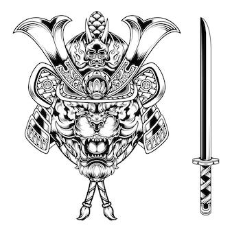 Monochromatyczna ilustracja samuraja tygrysa