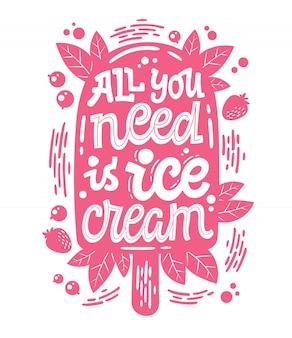 Monochromatyczna ilustracja z napisem lody do projektowania dekoracji - wystarczy lody.
