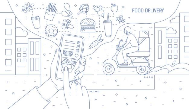 Monochromatyczna ilustracja z rękami trzymającymi smartfon z aplikacją dostawy żywności, posiłkami i chłopcem kurierskim jeżdżącym na skuterze narysowanym liniami konturowymi