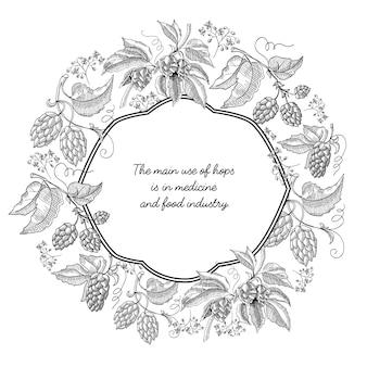Monochromatyczna karta z ozdobną ramką z elementami chmielu i kwiatowymi ozdobnymi zawijasami na białym tle