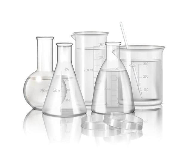 Monochromatyczna kompozycja szkła laboratoryjnego z kolbami i zlewkami na realistycznej ilustracji gładkiej powierzchni odbijającej,