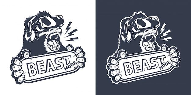 Monochromatyczna odznaka rocznika małpa gracza
