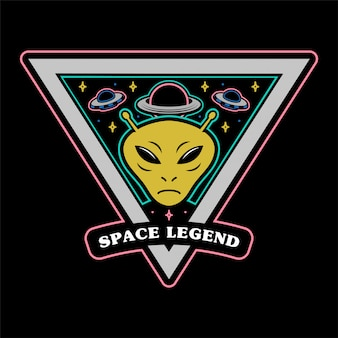 Monochromatyczna szpilka z naklejką w stylu vintage naszywki z najeźdźcami z kosmosu marsjańską i wielką planetą i legendą kosmosu ufo. ubrania drukuj t koszula bluza plakat maskotka logo ilustracja postać z kreskówki.
