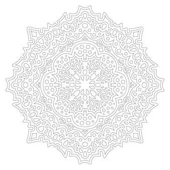 Monochromatyczna wektorowa ilustracja liniowa dla dorosłych kolorowanki książki z abstrakcyjnym orientalnym wzorem