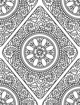 Monochromatyczne bezszwowe tło etniczne. ilustracja wektorowa