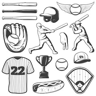 Monochromatyczne elementy baseballu z strój sportowy i gracze trofeum gestów hot dog na białym tle