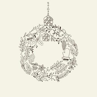 Monochromatyczne elementy dekoracyjne wieniec bożonarodzeniowy doodle z elementami wakacyjnymi i kreatywnymi