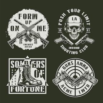 Monochromatyczne emblematy wojskowe i wojskowe