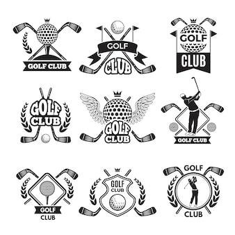 Monochromatyczne etykiety do klubu golfowego. ilustracja do turnieju sportowego lub konkurencji. kolekcja godła i odznak klubu golfowego
