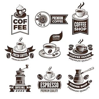 Monochromatyczne etykiety kawy w stylu retro. ilustracje z miejscem na tekst. klasyczny emblemat kawy premium, napój espresso